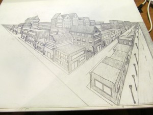 2 pt perspective drawing completed